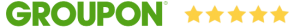 Groupon logo with five yellow stars