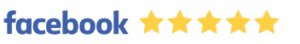 Facebook logo with five yellow stars